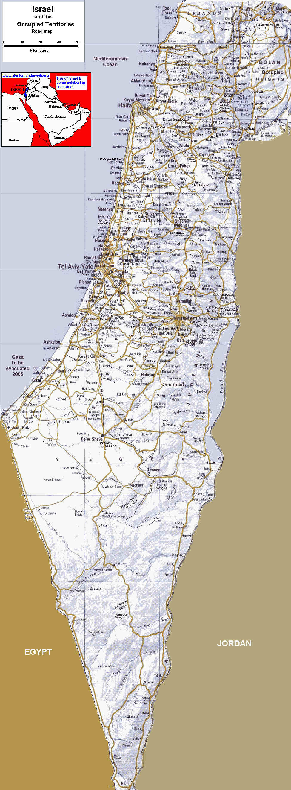 Detailed roadmap of Israel and occupied territories (Palestinian and Syrian Golan Heights)